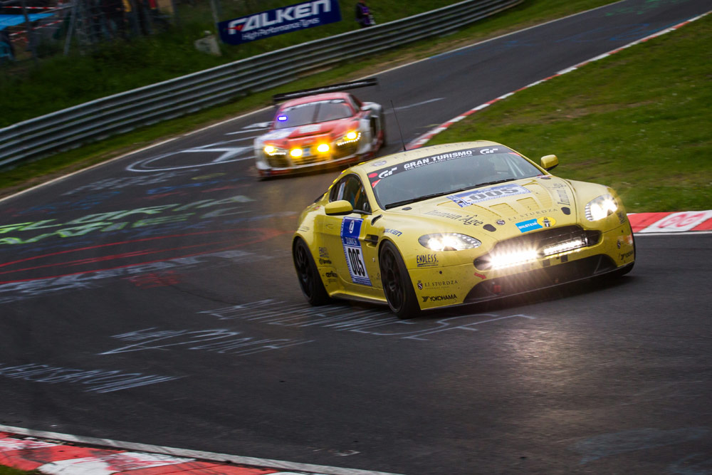 Aston martin leads n rburgring 24 hours at 15 hour mark for Define treacherous